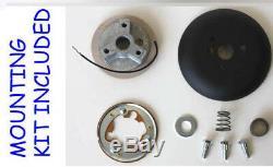 14 3/4 Bronco F100 F150 F250 F350 Truck Black Leather Steering Wheel Ford Cap