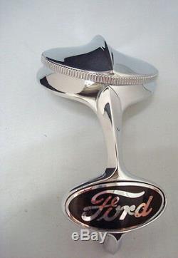 1932 Ford Car Truck Radiator Shell Chrome Ornament & Rad Cap + Black Emblem Kit