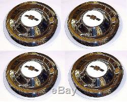 1955 1956 Hub Caps (4) Chrome with White Details 1/2 ton Chevy Pickup Truck 55 56