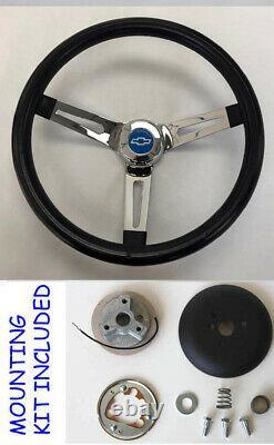 1960-1969 Chevrolet Truck C10 K10 Black Chrome Steering Wheel 13 1/2 blue cap