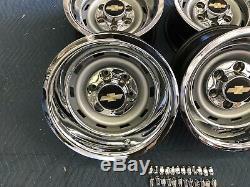 1967-72-87CHEVY TRUCK 2wd 6 LUG 15X8 GM ORIGINAL TRUCK RALLY, NICE CAPS NEW RINGS