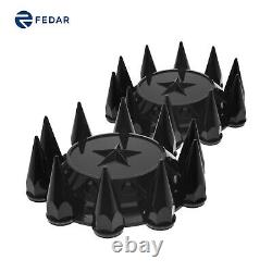2PCS Semi Truck Black Spiked Front Hubcaps Hub Cover Cap Kits Lug Nuts Cover