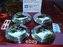 36 chevy truck hub caps for corvette rally style wheels, stainless, GM rat CT36-2