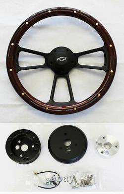 48-59 Chevy Chevrolet Truck Mahogany Wood on Black Steering Wheel 14 Bowtie Cap