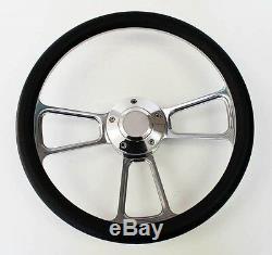 49-57 Ford Pick Up Truck F1 F100 Black & Billet Steering Wheel 14 polished cap