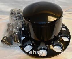(4) Commercial Truck Wheel Black Hub Cap & Lug Nut Cover Kit 2 Front 2 Rears