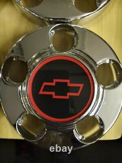 4 New Gm Chrome Center Caps With Reproduction 454 Ss Sport Truck Style Emblems