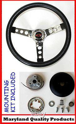 60-69 Chevrolet C10 Chevy Pick Up Truck Black Steering Wheel BLK/RD Cap 14 1/2