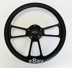 60-69 Chevy Pick Up Truck Steering Wheel Black on Black 14 Chevy Center Cap