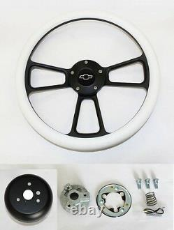 60-69 Chevy Pick Up Truck Steering Wheel White and Black Spokes 14 Bowtie Cap
