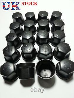 60x Black 32mm Wheel Nut Cover Plastic Caps Bolt Fit Truck Lorry Trailer Bus LKW