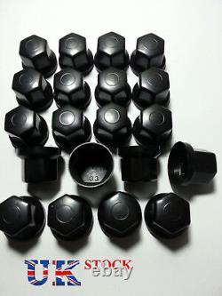 60x Black 33mm Wheel Nut Cover Plastic Caps Bolt Fit Truck Lorry Trailer Bus LKW
