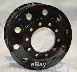 (6) Commercial Truck 22.5X8.25 Forged Aluminum Wheel Black Hub Pilot with Hub Cap