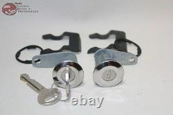 81-93 Mustang Ford Truck Door Lock Cylinder Key Set Chrome Cap Flat Pawl New