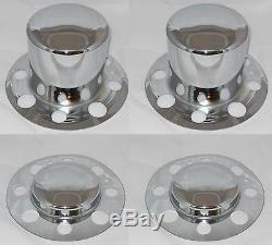 ALCOA DUALLY WHEEL RIM 9/16 x 18 RH CHROME LUG NUT AND WHEEL RIM CENTER CAP SET