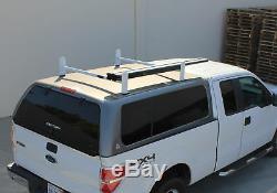 Adjustable Pickup Truck Cap Topper 2 Bar Ladder Roof Van Rack Steel Matte White