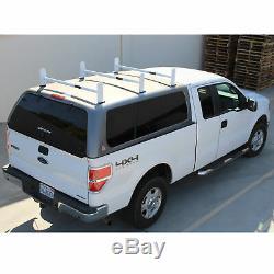 Adjustable Pickup Truck Cap Topper 3 Cross Bar Ladder Roof Van Rack Steel White