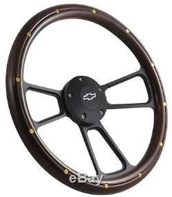 Blazer C10 C20 C30 Chevy Truck Steering Wheel Mahogany on Black 14 Bowtie Cap