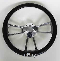 Blazer C / K Series C1500 Chevy Truck Steering Wheel Black Billet 14 Bowtie Cap