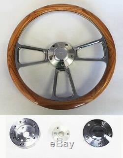 C10 C20 C30 Blazer Truck Oak Wood & Billet Steering Wheel 14 Chevy Bowtie Cap