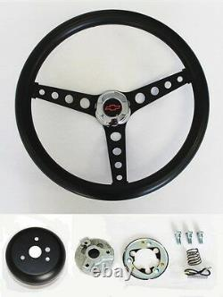 Chevrolet C10 K10 Pick Up Truck Black on Black Steering Wheel BLK/RD Cap 14 1/2
