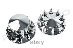 Chrome 22.5+24 Front+Rear Wheel Center Hub Cap 10 Lug Spike nut Axle System
