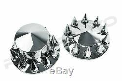 Chrome 22.5+24 Front+Rear Wheel Center Hub Cap 10 Lug Spike nut Axle System Ki