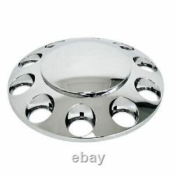 Chrome Hub Cover Kit 33mm Semi Truck Wheel Axle Covers Round Cap Front & Rear