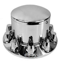Chrome Rear Axle Wheel Cover with Hub Cap 33mm Lug Nuts for Semi Truck Set of 4