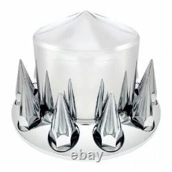 Chrome Semi Truck Front & Rear Axle Cover SET with pointed Hub Cap 33mm Lug Nuts