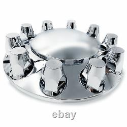 Chrome Semi Truck Hub Cover Wheel Axle Cover Center Caps with 33mm Lug Nut Covers