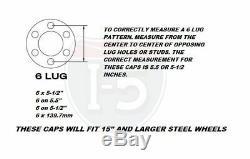 Chrome Spider Bullet Center Wheel Hub Caps 6 lug on 5-1/2 CHEVY BOLT PATTERN Set