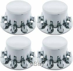 Chrome Wheel Axle Covers ABS 4 Rear 33mm with Removable Hub Caps Semi Truck 10263