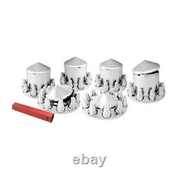 Chrome hub cover axle kit 33mm truck screw on semi front rear set pointed caps