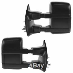 Dual Arm Tow Mirror Power Fold Textured Black Set of 2 for Ford Pickup New