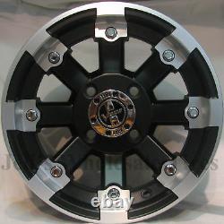 FOUR 14x7 4/110 Aluminum RIMS WHEELS & CENTER CAPS fits some Mini Trucks