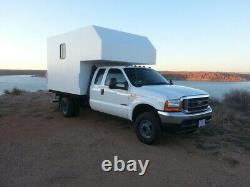 Fiberglass truck camper shell / service body cap