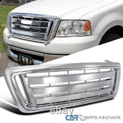 For 04-08 Ford F150 Pickup Truck Billet Chrome Front Bumper Hood Grill Grille