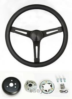 GMC Pick Up Truck Jimmy Van Black Foam on Black Steering Wheel 13 1/2 GMC cap