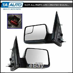 Mirror Power Amber Reflector Chrome Cap Pair Set for 04-13 Ford F150 NEW