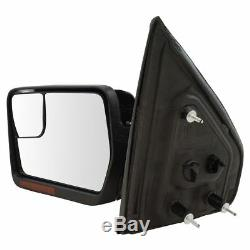 Mirrors Power Heated Turn Signal with Chrome & Black Caps Pair Set for 04-14 F150