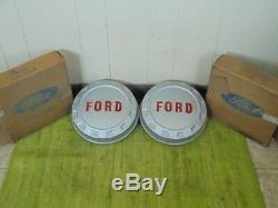 NOS 61-66 Ford 3/4 ton Pickup Truck F250 Hub Caps Set of 2 Bottle Cap Hubcaps