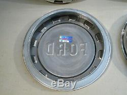 New 1961-1965 Ford F-100 Pickup Truck Stainless Hub Caps, Set Of 4. Nice
