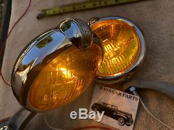 Pair 6 Volt Amber Small Vintage Style Fog Lights With Fog Cap @ Gray Bracks