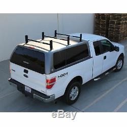Pickup Truck Cap Topper 3 Cross Bar Ladder Roof Van Rack Adjustable Steel Black