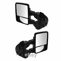 Power Heat Fold Smoked Mem Turn Chrome Upgrade Towing Mirror Pair for Super Duty