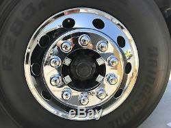 Semi Truck Triple Chrome 22.5 Front Wheel Simulator Liner+Center Caps Cover 2pc
