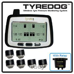 TYREDOG TPMS 6 Cap Sensor Tire Pressure Monitor RV, Trucks and Dullies