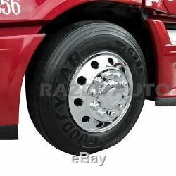 Truck Triple Chrome 22.5 Front Wheel Simulator Liner+Center Caps Cover 2pc
