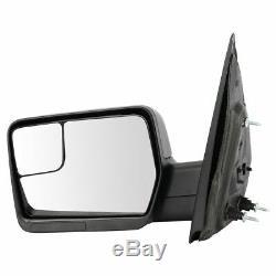 Upgrade Mirror Manual Amber Reflector Black Textured Cap Pair Set for 04-13 F150